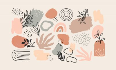 Sticker Minimalist abstract nature art shapes collection. Pastel color doodle bundle for fashion design, summer season or natural concept. Modern hand drawn plant leaf and tropical shape decoration set.