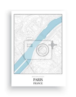Minimalist Map Paris, Paris Map Design, Art Design