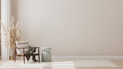 Sticker Minimalist modern living room interior background, living room mock up in scandinavian style, empty wall mockup, 3d rendering