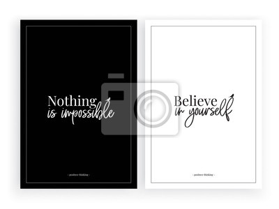 Minimalist poster design vector, Believe in yourself , wall decals, wall decor, wording design background, black and white design, two pieces wall art, lettering
