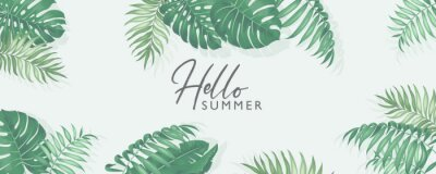 Sticker Minimalist summer banner design with tropical leaves theme