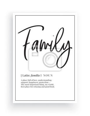 Minimalist Wording Design, Family, Wall Decor, Wall Decals Vector, Family noun description, Wording Design, Lettering Design, Art Decor, Poster Design isolated on white background