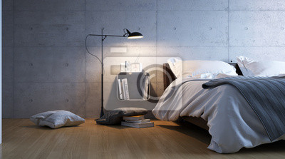 Sticker minimalistische Beton Schlafzimmer - Schlichtes Schlafzimmer