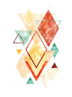 Sticker Minimalistische skandinavische abstrakte geometrische Kunst im Aquarell