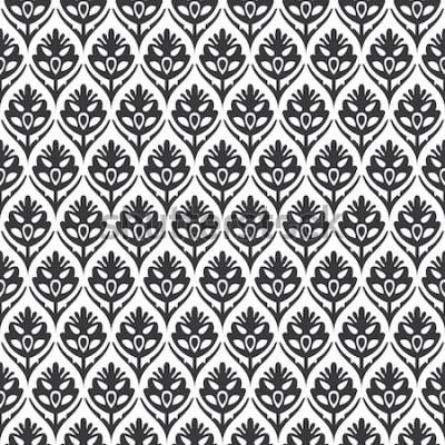 Sticker Mittelalterlicher Mustervektor des nahtlosen Schwarzweiss-Weinlese-Blumenogees