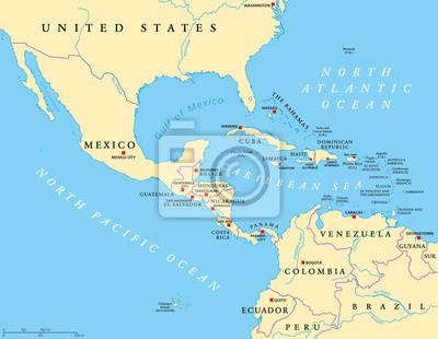 Südamerika Karte Ohne Beschriftung.Sticker Mittelamerika Politische Karte Mit Großbuchstaben Und Grenzen