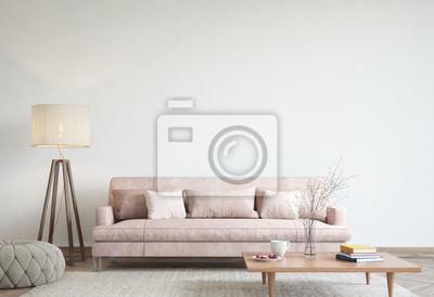 Sticker mock up modern interior sofa in living room, empty wall, 3D render