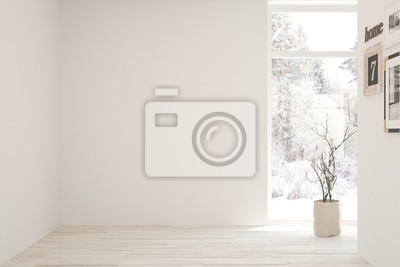 Sticker Mock up of empty room in white color with winter landscape in window. Scandinavian interior design. 3D illustration