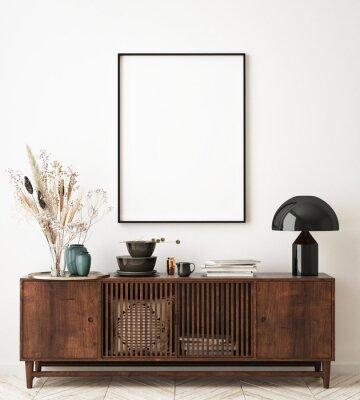Sticker mock up poster frame in modern interior background, living room, Scandinavian style, 3D render, 3D illustration
