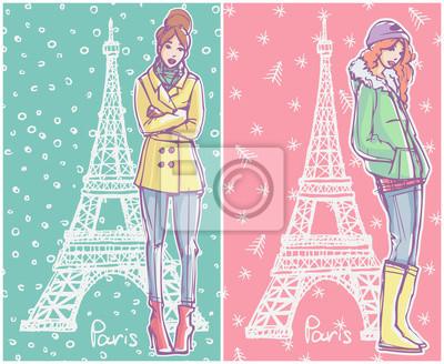 Mode-Illustration. Mädchen im Winter Saison Outfits stehen und posieren mit Eiffelturm auf Hintergrund.