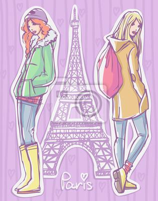Mode-Illustration. Zwei Mädchen im Winter / Herbst / Frühling Saison Kleidung stehen und posieren mit Eiffelturm auf Hintergrund