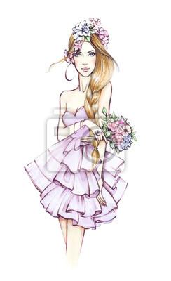 Mode Mädchen. Schöne junge Frau. Frau mit Blumen. Skizzieren. Hand gezeichnete Mädchen.