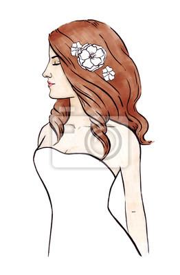 Modedame im weißen Kleid und im braunen Haar. Braut