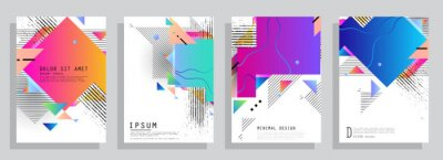 Sticker Modern abstract covers set. Abstract shapes composition. Futuristic minimal design. Eps10