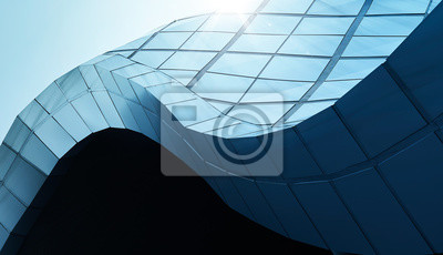 Sticker Modern architecture business building abstract curve line details steel facade background .