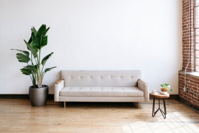 Sticker Modern beige fabric couch and plant in living room