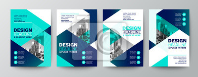 Sticker modern blue and green design template for poster flyer brochure cover. Graphic design layout with triangle graphic elements and space for photo background