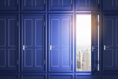 Modern blue doors to success