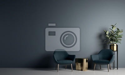 Sticker Modern cozy living room and blue wall texture background interior design / 3D rendering