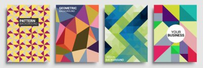 Sticker Modern geometric abstract background covers set. Cool gradient shapes composition, vector covers design.