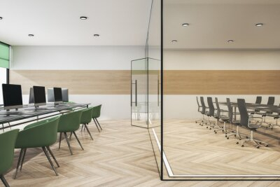 Sticker Modern glass conference room office interior with furniture, wooden flooring, equipment and daylight. 3D Rendering.