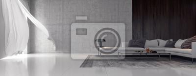 Sticker Modern interior design of living room 3D Rendering