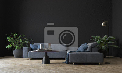 Sticker Modern interior living room design and black wall pattern texture background