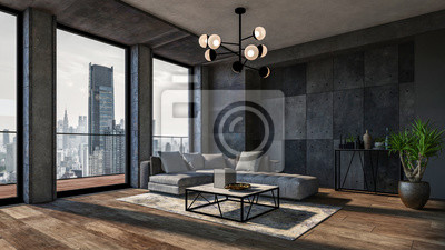 Sticker Modern interior of a living room. Penthouse Loft with dark stone walls (3d Rendering)