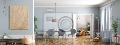 Sticker Modern interior of apartment, dining room with table and chairs, living room with sofa, hall, panorama 3d rendering