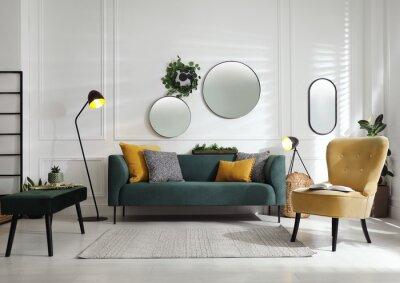 Sticker Modern living room interior with stylish comfortable sofa