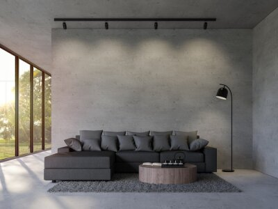 Sticker Modern loft style living room with empty concrete wall 3d render,there are polished concrete floor decorate with black fabric furniture overlooking nature view with sunlight.