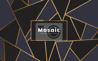 Sticker Modern mosaic wallpaper in black and gold