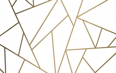 Sticker Modern mosaic wallpaper in white and gold