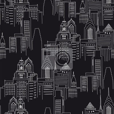 Modern New York city scape in black white colours. Vector doodle graphics. Perfect for design like t-shirt textile fabric print birtday party wrapping paper scrapbook