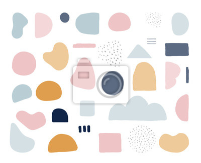 Sticker Modern trendy abstract shapes in pastel colors. Scandinavian clean vector design