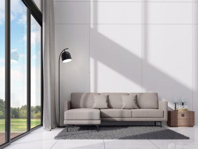 Sticker Modern white living room with sunshine in the room 3d render,There are empty white wall ,decorate with gray sofa, large window overlooking nature view