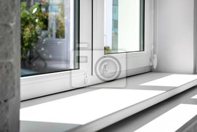 Sticker Modern window indoors, closeup view. Home interior
