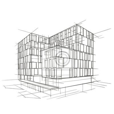 Moderne Architektur Zeichnung. Vektor.