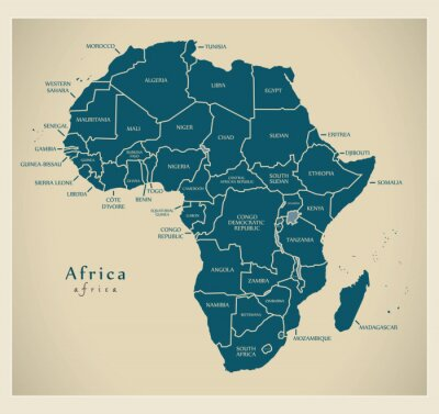 Sticker Moderne Karte - Afrika Kontinent mit Land-Etiketten