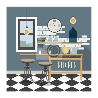 Moderne küche interieur im loft-stil. notebook-sticker • wandsticker ...