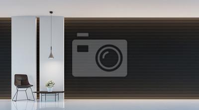 Sticker Moderne Schwarz Weiß Wohnzimmer Interieur 3D Rendering Bild. Eine  Leere Wand
