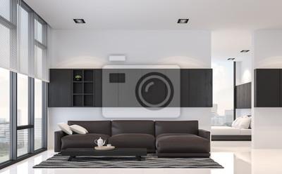 Sticker: Moderne schwarz-weiß-wohnzimmer und schlafzimmer interieur  3d-rendering
