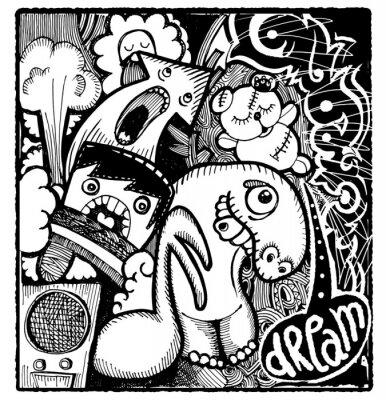 Sticker Moderne skizzenhaften Stil Bild von Bad Dream