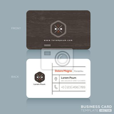 Moderne Visitenkarten Design Vorlage Mit Dunklem Holz