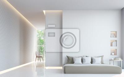 Moderne weiße schlafzimmer interieur 3d-rendering bild. eine ...