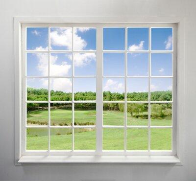 Sticker Moderne Wohn-Fenster mit Blick auf den See