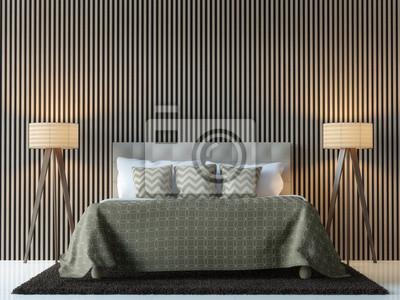 Sticker Moderne Zeitgenössische Schlafzimmer Interieur 3D Rendering  Image.There Sind Dekorieren Wand Mit Vertikalen