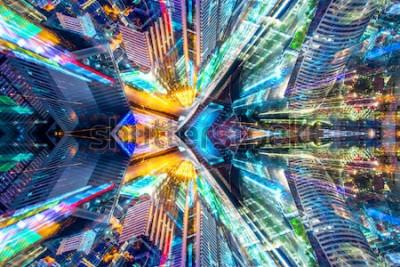 Sticker Moderner Stadthintergrund der kreativen grafischen Sciencefictionzusammenfassung.
