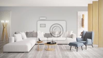Sticker Modernes helles Interieur. 3D-Darstellung