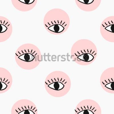 Sticker Modernes nahtloses Muster mit Hand gezeichneten Augen.